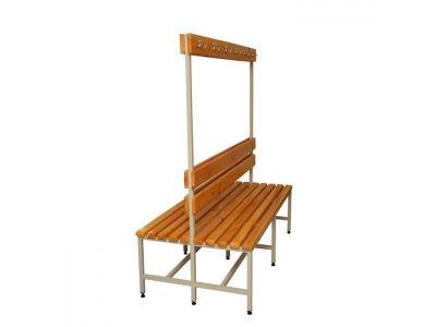 Скамейка 2СВ-1500 двухсторонняя, спинка и вешалка с крючками